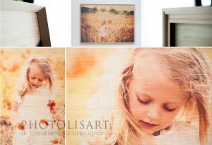stampa diretta su legno fotografo bambini papaveri